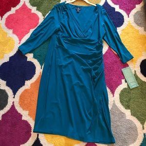 American Living 16 sleeved dress teal surplice